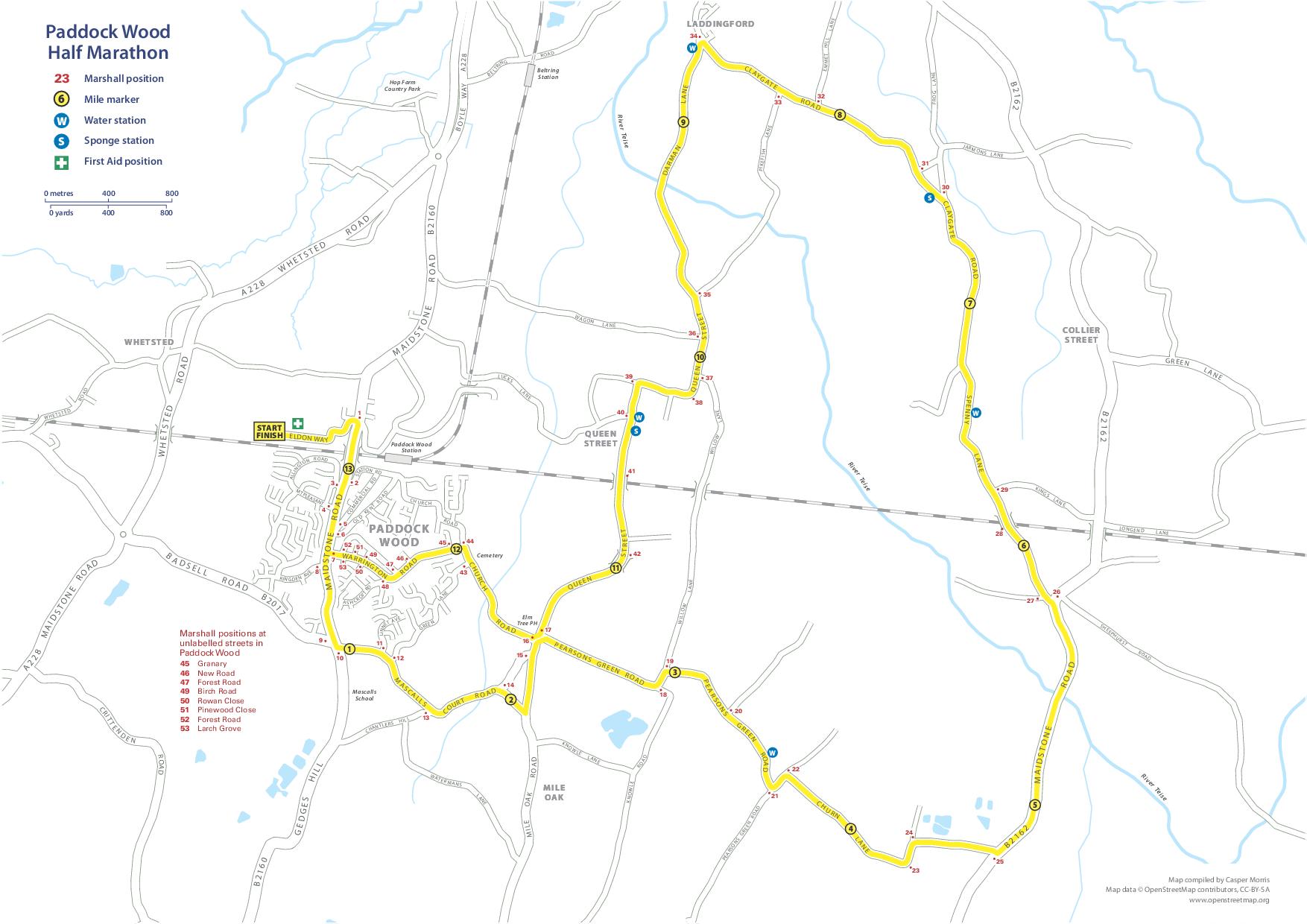 Paddock Wood Half Marathon Race Route